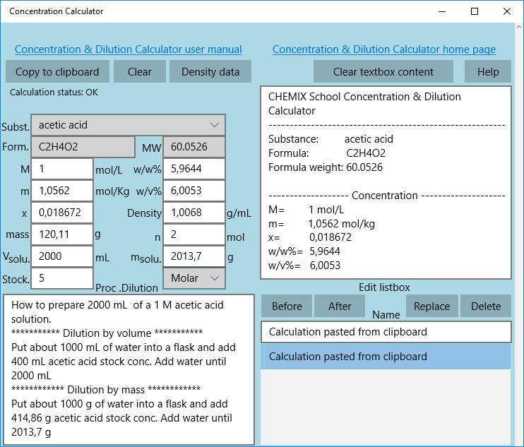 concentration dilution calculator